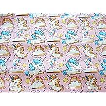 Tela unicornios rosas por metros 1 unidad 0.50 m. x 1.60m 2 unidades 1