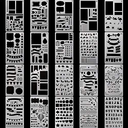 hook.s 30pcs Journal Schablone, Kunststoff Planer Set für Journal Notebook Tagebuch Sammelalbum, DIY Zeichnungsvorlage Journal Schablonen 4 x 7 Zoll