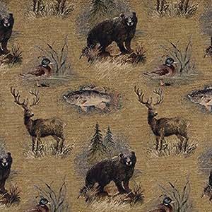 A027rustique, ours, poisson, canards, cerf et arbres, thème Ameublement Tapisserie En Tissu par les m