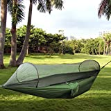 Outdoor HammockRechel Portable Parachute Fabric Camping Hammock with Mosquito Net for Single Person
