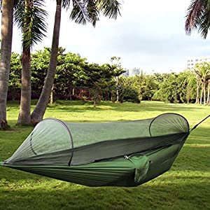 portable folding nylon fabric camping hammock, hammock tent pop up mosquito net ultralight durable parachute fabric hammock for outdoor,beach, hiking, traveling, beach, backyard, backpacking