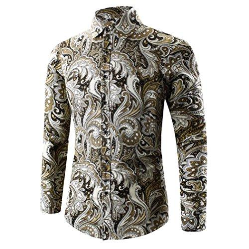 Camisa de los hombres camiseta hawaiana impresión 3D camiseta deportes manga larga camisetas Top By LMMVP (Oro, L)