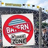Bayern FREIE-Zone | XXL-Aufkleber 3er-Set | Schützt Schalke, Dortmund & Fußball-Fans vor Bayern & München infizierten | Einfach mehr Spaß im Alltag | Warnschild - Türschild - Öffnungszeitenschild