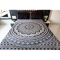 folkulture Mandala tapiz cama con fundas de almohada, indio tapiz colgar en la pared, manta de Picnic, o Hippie bohemio playa manta, Mandala, colcha para dormitorio Decor, negro y gris Queen Size Boho spread