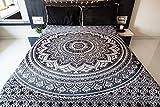 Folkulture Mandala-Tagesdecke mit Kissenbezügen, kunstvoller indischer Wandteppich, Picknickdecke oder Hippie-Strandtuch, Mandala-Tagesdecke Ombre, Schlafzimmerdekoration, kunstvolle Queensize-Tagesdecke, Schwarzgrau