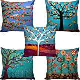 #3: B7 Creations Digital Printed Jute Cushion Cover Set Of 5 16X16 Inches / 40X40 Cms