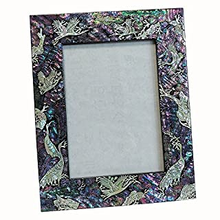 Antique Alive Mother of Pearl Inlay 4 by 6-inch (4x6) Horizontal or Vertical Crane Pine Tree Design Decorative Classic Black Wooden Home Decor Photo Picture Frame