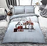 C2S Weihnachtsspecial Polyester-Baumwolle Bettbezug-Sets mit Kissenbezügen, Winter Husky, Einzelbett