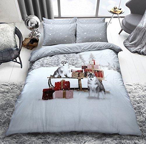 C2s, set di copripiumino con federe, in policotone, misto cotone, speciale set di biancheria da letto, cotone/misto-cotone/poliestere, winter husky, doppio