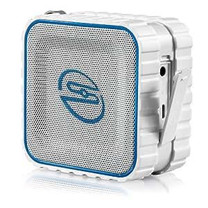 deleyCON SOUNDSTERS - rocktank mini BT - mini Bluetooth Lautsprecher Box Kabellos Wasserdicht - Weiß - für Handy & Co - OUTDOOR - [Regen geschützt]