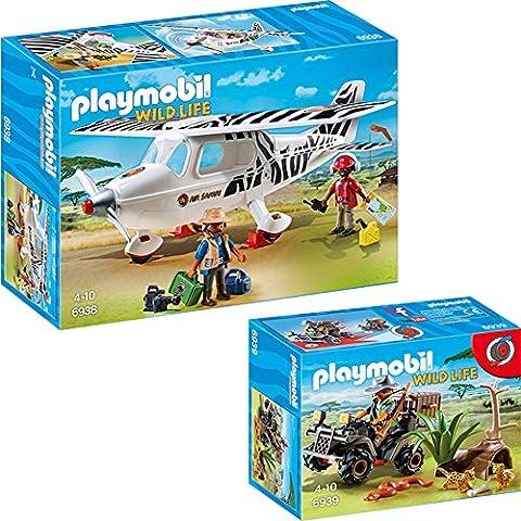 PLAYMOBIL® animaux d'Afrique set en 2 parties 6938 6939 Avion Avec Explorateurs + Braconnier Avec