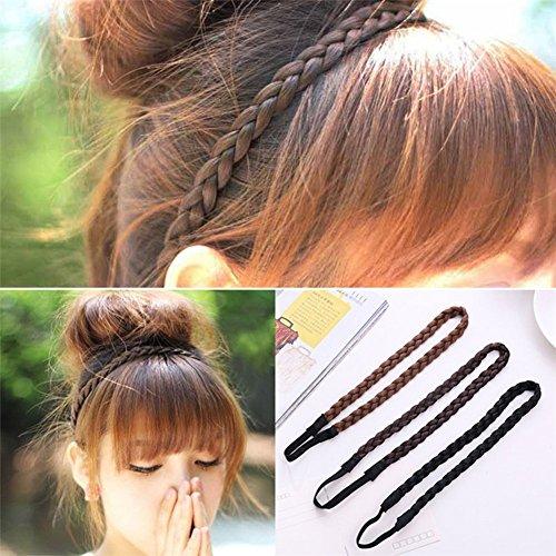 Haarband Geflochten Perücke Pigtail Elastisches Hairband Seil Haar Zubehör Dekoration 3Stk