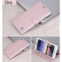 Prevoa ® 丨Flip cubierta protectora de cuero de la PU para Huawei Ascend P7 - Oro