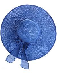 Tinksky Amplia del Larege borde gorras verano Floppy Beach paja Bowknot casquillos de los sombreros, regalos para las madres o regalo para las mujeres adultas jóvenes (azul oscuro)