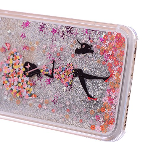 Für iPhone 4/4S Hülle,Für iPhone 4/4S Flüssigkeit Handyhülle,Funyye Luxus Luxuriös [Bunten Muster] Liebe Herzen Star Fließt Treibsand Durchsichtige Handytasche Glänzend Glitzer Diamond Diamant Fließen Silber Glitter,Regenschirm Mädchen