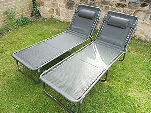 SET OF 2 Brown Padded Folding Garden Sun Loungers Sun Bed Reclining Chair