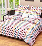 Home Candy Dots Cotton Double Bedsheet with 2 Pillow Covers - Multicolor (CTN-BST-324)