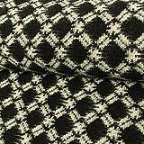 Wollstrick Rauten mit Fransen schwarz weiß Modestoffe