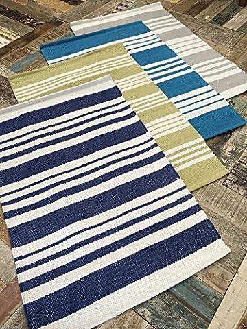 Fair Trade Beach Style White Stripe Cotton Rug - Green,