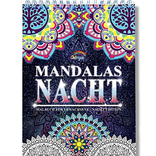 h für Erwachsene mit Anti-Stress-Wirkung: Das besondere Spiral-Ausmalbuch von Colorya auf schwarzem Hintergrund, auf A4 Künstlerpapier und ohne Durchdrücken ()