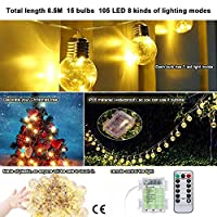 KEYNICE 19.7 Feet/6m 15 Rattan Ball String Starry Light 105 LED 8 Lighting Modes Crystal Ball Waterproof Outdoor String Lights Globe Fairy String Lights for Christmas Halloween Party Wedding Yard and Holiday Decorations Battery-powered- (Warm White)