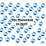 1a-becker 50x Wasserball Strandball Beachball Spiel Ball aufblasbar blau weiß 25cm groß