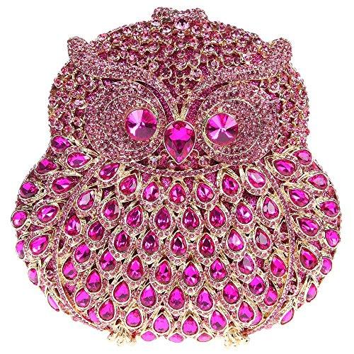 Santimon Clutch Delle Donne 3D Guto Diamante Cristallo Borsellini Borse Da Festa di Nozze Sera Con Tracolla Amovibile E Pacco Regalo 13 Colori rosa