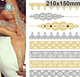 Golden Metallic Gold Body Art Temporary Removable Tattoo Stickers With Golden Pattern #2 Sticker Tattoo - FashionLife