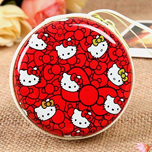Kitty Red Zipper Round Headphones / Coin Purse Wallet Pouch Bag Key Holder For Birthday Gifts   Return Gifts   Utillity  available at amazon for Rs.149