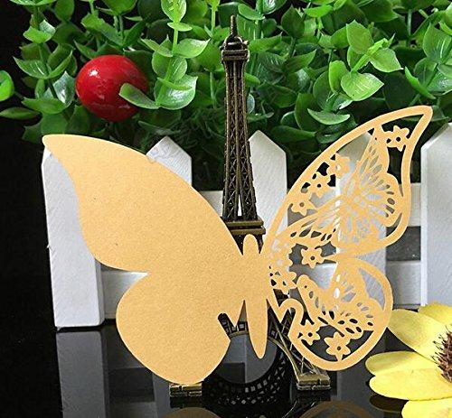 Doitsa 50 Stück Tischkarten Platzkarten Schmetterling Namenskarten Glasanhänger Cup-Karten Lesezeichen für Hochzeit Geburtstage Taufe Party Deco Golden