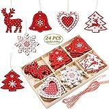 SEEHAN Weihnachtsbaumschmuck-Set aus Holz, 24 Stück, 5,1 cm, Weihnachtsbaumschmuck, Dekoration für Weihnachtsbaum, mit Holz-Aufbewahrungsbox Rot, 24 Stück