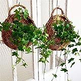 Wicker Rattan-Hängender Korb an der Wand befestigter Blumenkorb Geflochtener Hängenden Pflanzer Hängender Blumen-Behälter-Halter Für Indoor-Outdoor-Pflanzen (2 Stück)