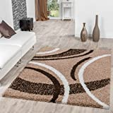 T&T Design Moderner Hochflor Teppich Shaggy Vigo Gemustert in Braun Beige Creme Top Preis!!, Größe:70x140 cm