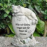 """Tiergrabstein Grabschmuck Katzen Gedenkstein Grabdeko """"Katze liegend auf Stein"""""""