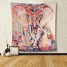 HailiCare Psicodélico Elefante Tapicería Floral Tapiz Hippie Mandala Tapices Gitano Bohemio Tradicional Colgante Decoración de Pared Mesa Cortina Picnic Blanket Beach Throw 150*130 (Naranja)