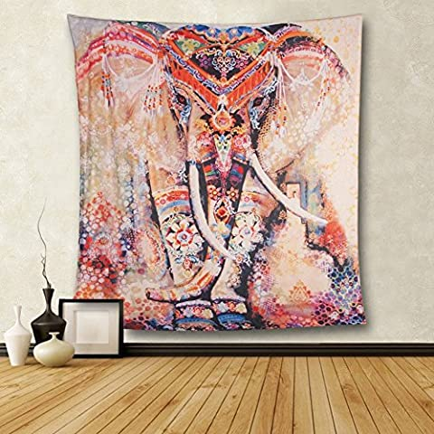 HailiCare 150 x 130 cm Psychedelic Elephant Floral Tapestry Hippie