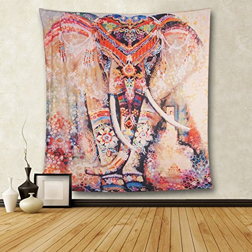 Hailicare 150x130cm Psychedelic Elefant Blumenmuster Tapisserie Hippie Mandala Gypsy Bohemian Traditionelle indische Wandbehang Tabelle Vorhang Wand Decor Tisch Couch Bezug Picknick...