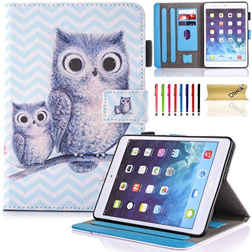 Schutzhülle für iPad Air 2, Air 9,7 2014, Dteck Pretty Flip Stand Case [Auto Wake/Sleep-Funktion] Schutzhülle Leder Wallet Magnetic Cover Apple iPad Air 2, 06 Gray Owls -