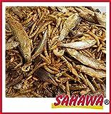 SAHAWA® 6 Sorten Reptilienmix, Trockenfutter, Schildkrötenfutter, Reptilien, getrocknete Heuschrecken, getrocknete Bachflohkrebse, getrocknete Heuschrecken, getrocknete Fische (1 l Tüte)