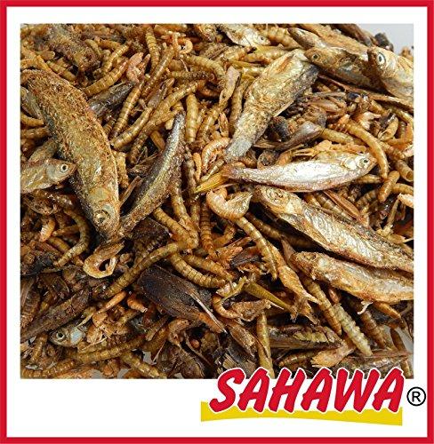 SAHAWA® 6 Sorten Reptilienmix, Trockenfutter, Schildkrötenfutter, Reptilien, getrocknete Heuschrecken, getrocknete Bachflohkrebse, getrocknete Heuschrecken, getrocknete Fische (2 l Tüte)