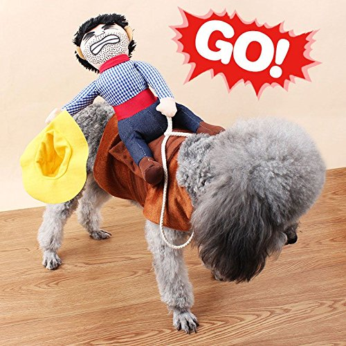 VANKER Fantasía divertido perro de mascota de peluche lindos trajes Novel montar a caballo del vaquero Knight ropa de abrigo--L