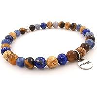 Bracciali uomo acciaio perle pietre naturali dure elastico occhio di tigre lapislazzuli sfere palline colorati blu…