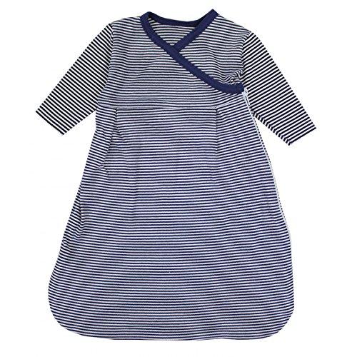 TupTam Baby Unisex Langarm Innenschlafsack, Farbe: Streifenmuster Dunkelblau, Größe: 74/80