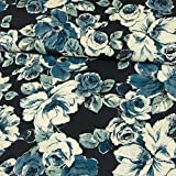 Viskosestoffe Blumen blau weiß Modestoffe Damenstoffe