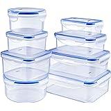 DEIK Fiambreras, Contenedores de Alimentos, Set de Recipientes Herméticos, 8 Piezas, Sin BPA, Apta para lavavajillas, congela