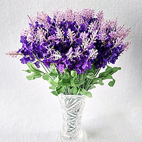 5 bouquet 10 Heads Artificial Lavender Silk Flower Violet Bouquets Wedding Home Party Decor and Garden Decoration - Dark