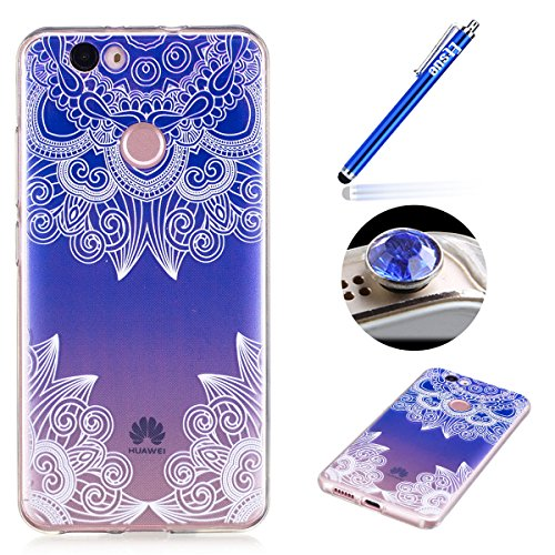 Preisvergleich Produktbild Huawei Nova CLEAR Case, Huawei Nova TPU Fall, etsue Cute Feder Design Slim Fit Soft Flexibel Transparent Gel Bumper Schutzhülle Weich TPU Gummi Schutzhülle für Huawei Nova + Blau Eingabestift + Bling Glitzer Diamant Staub Stöpsel (zufällige Farben) -feather, Etsue000046409