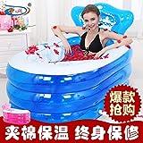 tlue tathtub Size 160* 90* 75cm, con la bomba de mano, bañera hinchable, ispessimento bañera adultos, baño plegable palangana, baño Benna, Azul