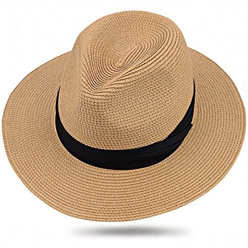ter Krempe Stroh Sommer Panama aufrollen Hut Fedora Strand Sonnenhut UPF50+ (Khaki SZ) ()