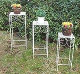 3er Set Blumentisch Beistelltisch Blumenständer Metall Dekotisch Tischset weiß